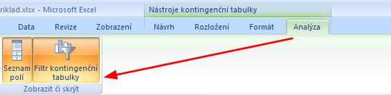 Zobrazení okna s filtrem kontignenční tabulky.